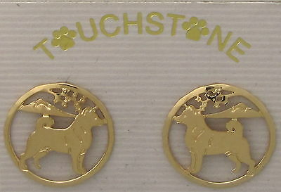 Shiba Inu Jewelry Gold Post Earrings by Touchstone