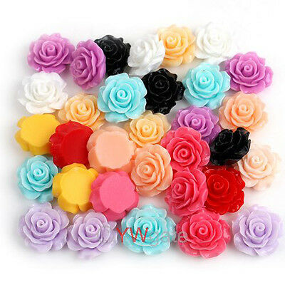 Wholesale Lots 120pcs Resin Rose Flowers Cabochons Cameo Flat Back 18mm To Pick