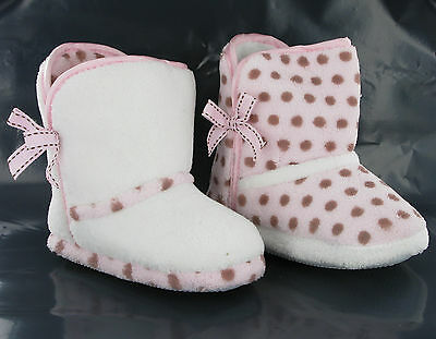 Fur Warm Cosy Girls Infants Kids Pink White Slippers Booties UK4-9