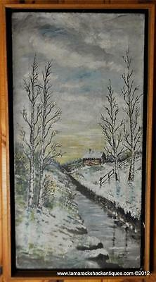 VTG Tall Original Oil Painting Winter Cabin By Creek Trees Northern Forest 6756