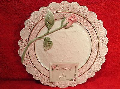 Vintage Fitz Floyd Majolica Plate Thinking of You c1994 Rose, fm834