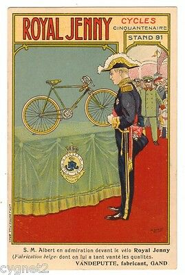 Postcard Belgian Advertising Royal Jenny Bicycle Signed Lemaire