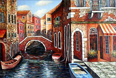 Stretched, Venice Waterway and Storefront, Hand Painted Oil Painting 24x36in