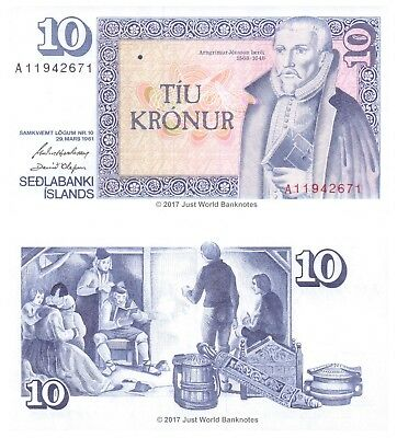 Iceland 10 Kronur 1981 P-48 Perfect Mint UNC Uncirculated Banknotes