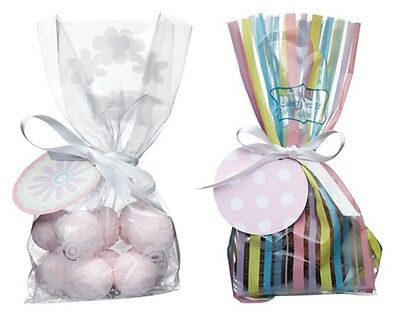 Pack of 12 Cellophane Sweetie, Party, Gifts or Favours Bags Tags & Ribbons