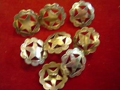 """BUTTONS: Set of 8 Sterling 3/4"""" Cut out Star"""