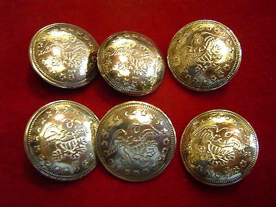 "Buttons: Set of 6 Sterling 1""  Eagle over Shield"