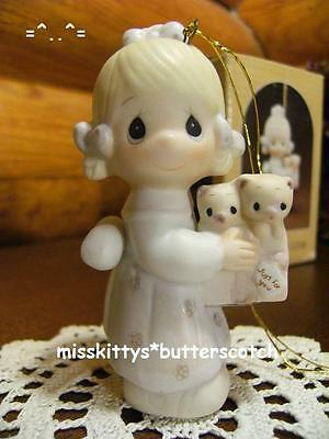Precious Moments~ORNAMENT~To Thee with Love~E0534~Girl w a Box Of Kittens~b & a