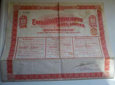 UK GB Argentina 1910 Capillitas Consolidated Mines 5 shares £5 Uncancelled coup