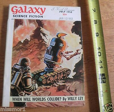 Science Fiction pulp 1952 Robot cover Galaxy magazine When will world's collide