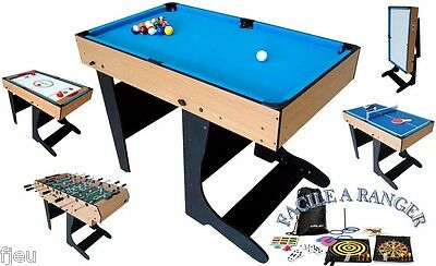 18e720453ad1e TABLE MULTI JEUX 21 en 1 pliable bois billard PoolSnooker baby foot ...