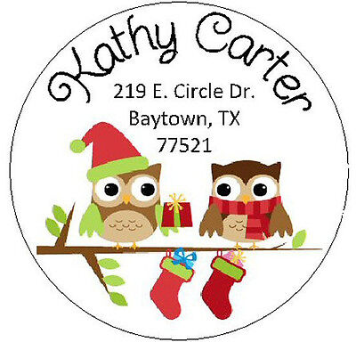 TWO CHRISTMAS OWLS w/STOCKINGS -  Round Return Address Labels