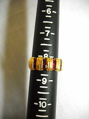 Vintage Pre-Owned Gold Ep Signed Pci Sparkling Garnet Rhodolite Band Ring Sz 8
