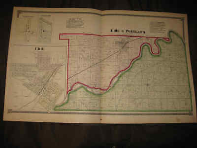 Antique 1872 Erie Portland Township Whiteside County Illinois Map Handclr Map Nr