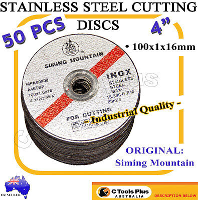 "4"" 100mm 50pc INOX Stainless Steel Metal Grinder Cutting Disc Blade Discs"