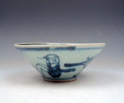 """*Ship From U.S* Antique Chinese Blue&White Hand Painted """"Bamboo Hat"""" Shaped Bowl"""