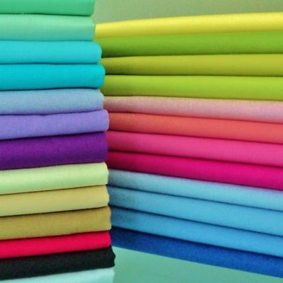 100% Pure Cotton Plain Sheeting Fabric Per Metre - 30+ Colours Poplin Solid
