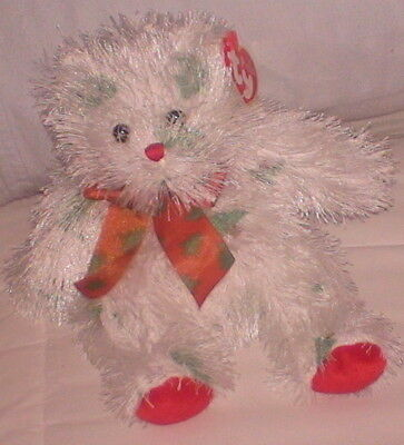 "Lil' Santa Claws Ty Tags White Shag Plush Green Brown 6"" High Punkies Collection"