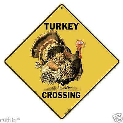 "Turkey Metal Crossing Sign 16 1/2"" x 16 1/2"" Diamond Shape made in USA  #149"