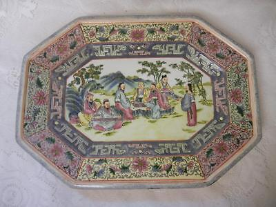 Antique Chinese Large Platter Bowl Medallion Town Family  Rose Scenes