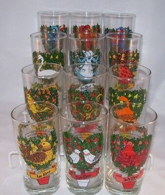 Vintage American Glass Indiana Glass Twelve Days Christmas Beverage Glasses MIB