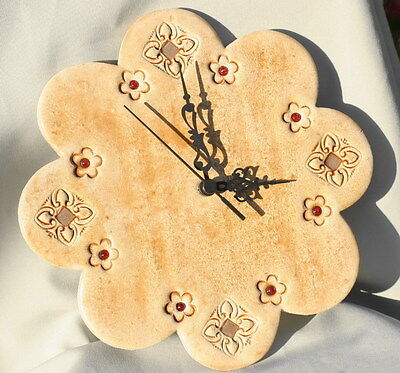 "Large 10"" Flower Design Wall Clock, Stone Art +Color Beads, Handmade in Israel"