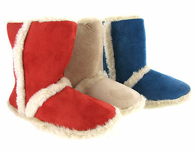Womens Girls Novelty Cosy Warm Fur Lined Winter Slipper Booties  UK Sizes 3-8