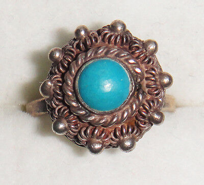 VINTAGE ANTIQUE STERLING 925 SOLID SILVER TURQUOISE FLOWER ORNATE RING VICTORIAN