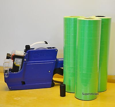 MX-6600 10 Digits 2 Lines Price Tag Gun labeler +1 Ink + 42 Rolls Green 500 Tags