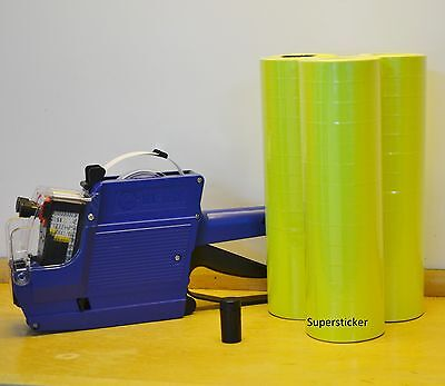 MX-6600 10 Digits 2 Lines Price Tag Gun labeler +1 Ink + 42 Rolls Yellow 500 Tag