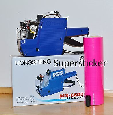 MX-6600 10 Digits 2 Lines Price Tag Gun labeler +1 Ink + 5000 Pink Tags