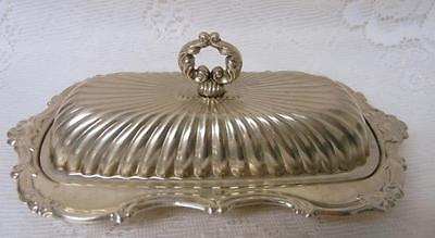 Vintage Ornate Silver Plate Covered Butter Dish Tray Glass Insert