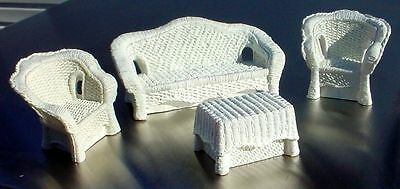 Wicker Couch Chairs Table Set 4 Pc Miniatures 1/24 Scale G Scale Diorama Items