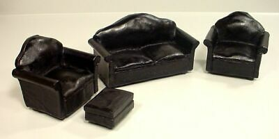 Leather Couch Set Miniatures (Black 4 Pc) - Couch 2 Chairs Ottoman 1/24 Scale G