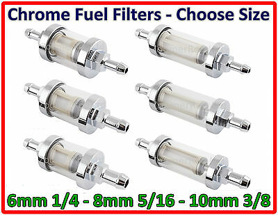 Chrome Inline Fuel Filter - Choose Size 6Mm 8Mm 10Mm Universal
