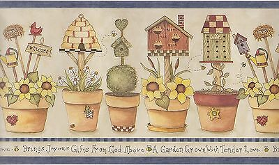 Potted Plants Bees Words Wallpaper Border   Rosedale   ALB3762