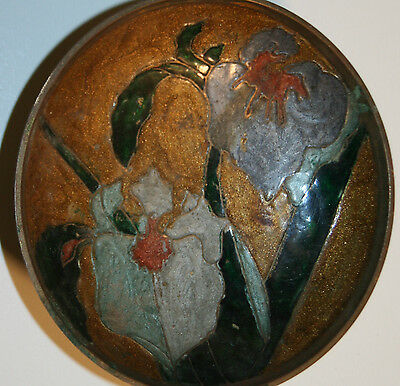 Vintage Small Solid Brass Painted Enesco INDIAN Wall Hanging Bowl Hidden Rare