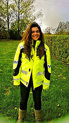 0470 EQUISAFETY CHILD ASPEY WINTER JACKET HI-VIZ please pass wide and slow safe