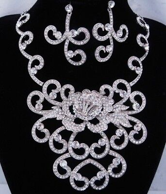 Clear Crystal Floral Vintage Victorian Style Bridal Silver Necklace Set-Fioj