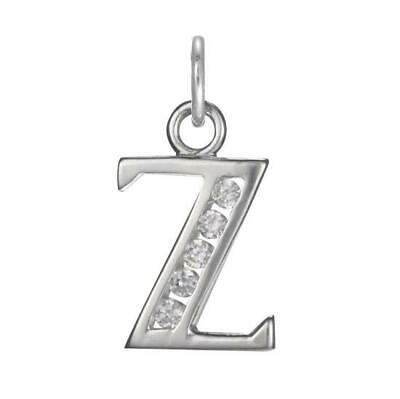 925 Sterling Silver Crystal Alphabet Letter A - Z Charm on Jump Ring