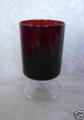Beautiful Vintage Ruby Red/Crystal Glass Goblet- Made in France - MORE AVAILABLE
