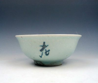 *Ship From U.S* Antique Chinese Blue&White Ancient Characters Hand Painted Bowl