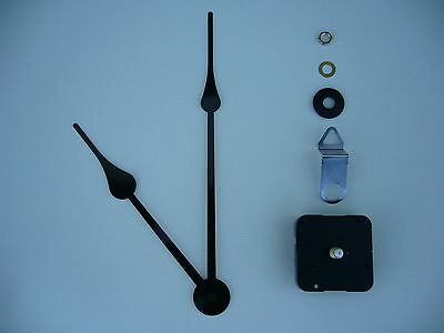 High Torque Clock Movement Medium Spindle 230Mm Black French Spade Hands