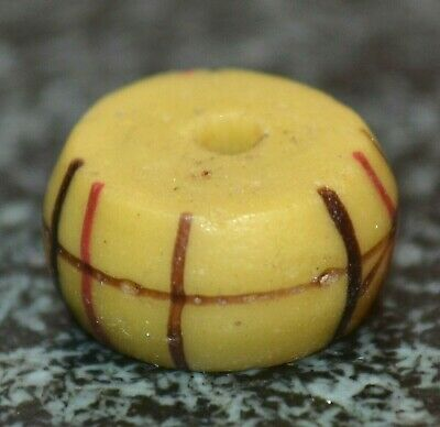 Antique Venetian Yellow Lampwork Italian Glass Bead With Stripes African Trade