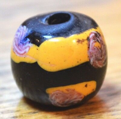 Rare Black Antique Venetian Lampwork Eye Bead