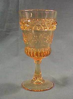 Amber Wildflower Early American Pattern Glass Champagne Glass