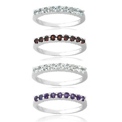 Sterling Silver Semi-Eternity Gemstone Band Ring - 4 Colors