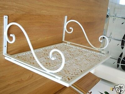 Iron Wall Mount Microwave Shelf Stand Rack Light Cream Color 001