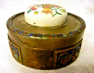 Antique Chinese Famille Verte Enamel Box Brass 20th c Early Republic Period