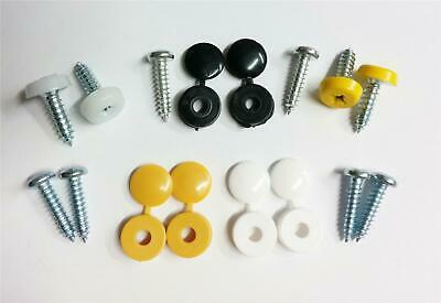 Replacement Number Plate Fitting Kit Screws Caps Covers Black Yellow White